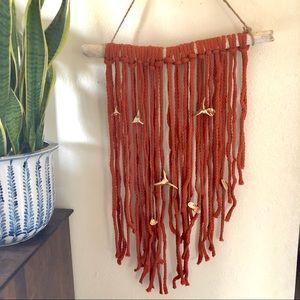 Handmade braided terra cotta rope wall hanging